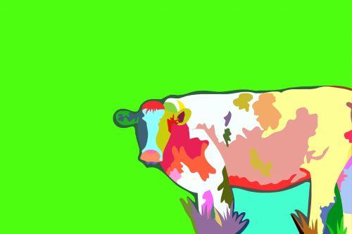 spalvinga, spalvinga, menas, šiuolaikiška, meno, formos, abstraktus, dizainas, gyvūnas, ūkis, Žemdirbystė, laukas, pieva, žalias, copyspace, karvė, žinduolis, vidaus, spalvinga karvė