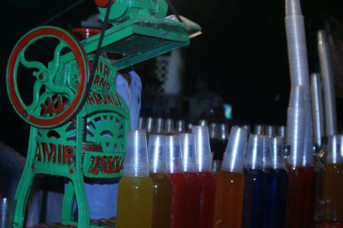 gėrimai, spalvinga, spalva, Indija, gatvė, stalas, plastmasinis, spalvingi gėrimai
