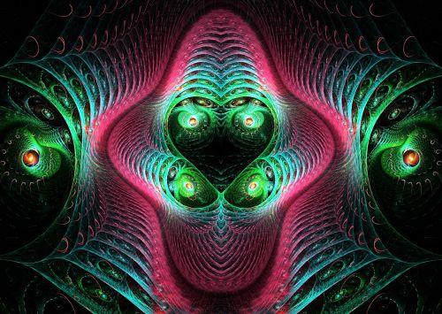 fraktalas, fraktalai, šviesus, spalvos, raudona, žalias, spalvingas fraktalas