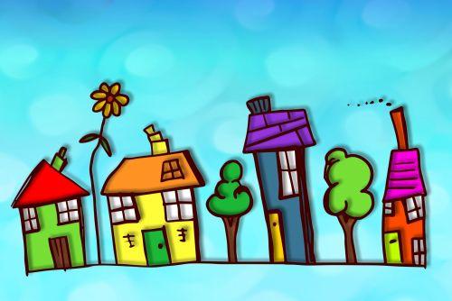 Iliustracijos,  Clip & Nbsp,  Menas,  Iliustracija,  Grafika,  Spalvinga,  Spalvinga,  Gatvė,  Kaimas,  Namai,  Namai,  Gyvenamasis,  Nuosavybė,  Pastatai,  Architektūra,  Kaimynystėje,  Gyvenamieji Namai,  Eskizas,  Spalvoti,  Doodle,  Lauke,  Spalvinga Gatvė