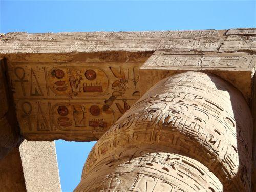 stulpelis,šventykla karnakoje,Senovinis,hieroglifai