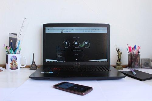 kompiuteris, juodos spalvos, lentelėje, buveinė, technologijos, informatika, Asmeninis kompiuteris, nešiojamas kompiuteris, ląstelinis