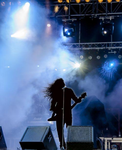 koncertas, dainininkė, etapas, Rodyti, muzika, Rokas, šešėliai, žibintai, mėlynas, juoda, gyventi, turizmas, grupė, gitara, metalas, koncertas