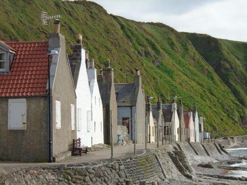kotedžai,Škotija,kraštovaizdis,senas,kranto