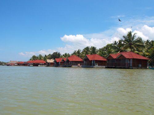 kotedžai, griuvėsiai, upė, trivandrum, Kerala