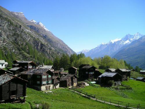 Kotedžai, Kaimas, Zermatt, Kalnai, Alpių, Šveicarija