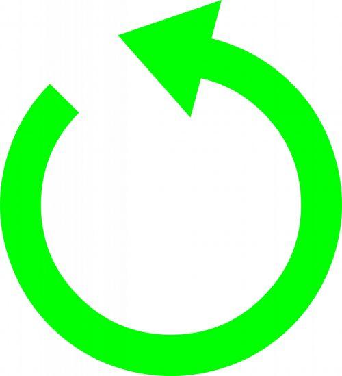 žalias, skaitiklis, laikrodžio rodyklę, rodyklė, izoliuotas, balta, fonas, kryptis, prieš laikrodžio rodyklę rodykle