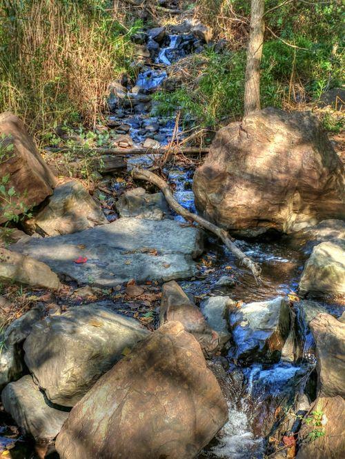 srautas, upelis, vanduo, srautas, akmenys, kaimas, gamta, meno, dažytos, tapybos, šalies srautas