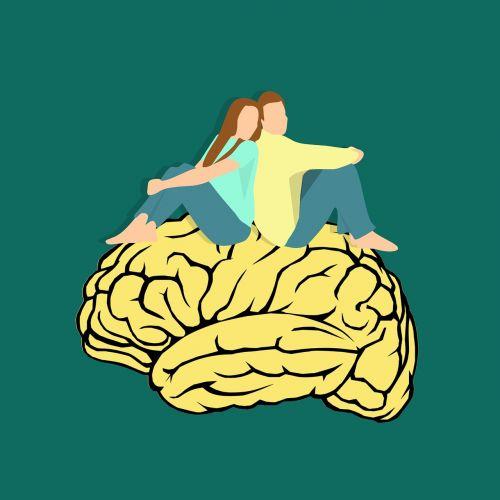 pora, vyru, žmona, kartu, smegenų ikona, protas, mąstymas, smegenų audra, smegenų logotipas, smegenų galia, smegenys, neuronai, be honoraro mokesčio