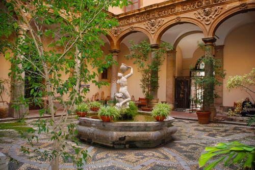 kiemas,ispanų,architektūra,eksterjeras,sodas,kelionė,Ispanija,lauke,augalas,Europa,senas,kiemas,architektūra,akmuo,botanikos,statula