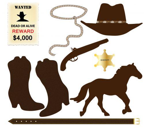 kaubojus, batai, skrybėlę, arklys, norėjo & nbsp, plakato, kaubojus & nbsp, skrybėlę, kaubojus & nbsp, batus, Iliustracijos, Scrapbooking, lasso, lynai, pistoletas, pistoletas, revolveris, piktogramos, elementai, iliustracija, kaubojus piktogramos clip-art