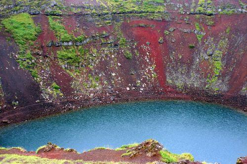 kraterio ežeras,iceland,vulkaninis krateris,vulkanas,krateris,kraštovaizdis