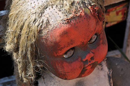 Halloween, baugus, apsėstas, lėlės, lėlės & nbsp, veidas, veidas, žaislas, pažeista, raudona, senas, Senovinis, vintage, Creepy lėlės veidas