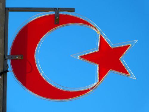 pusmėnulis,pjautuvas,žvaigždė,vėliava,simbolis,turkish,raudona,mėlynas,dangus,Turkija