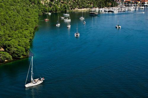 kroatija,vanduo,mėlynas,Europa,vasara,kraštovaizdis,gamta,kelionė,turizmas,žalias,atostogos,medis,Dalmatija,miškas,katamaranas,valtys,uostas