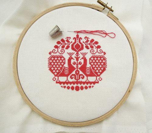 kryželiu,siuvinėjimas,raudona,Rankinis darbas,paukštis,meilė,antgalis,adata