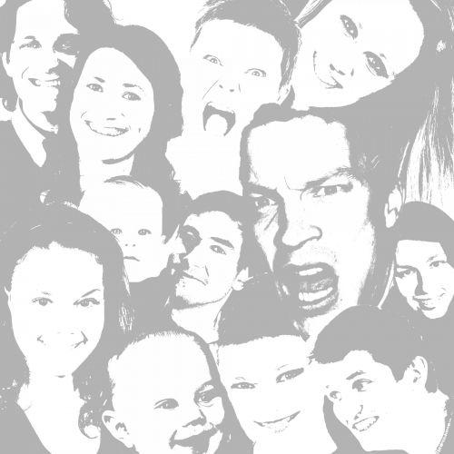 iliustracija, grafika, meno, žmonės, veidai, minios, perkrautas, įvairus, įvairovė, portretas, vyrai, moterys, auditorija, žiūrovai, veidų veidai