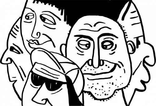 Iliustracijos, clip & nbsp, menas, grafika, iliustracija, piešimas, eskizas, veidai, minios, vyrai, žmonės, veidų veidai