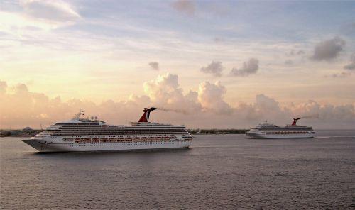 gamta, kraštovaizdis, saulėtekis, laivai, kruizas, kruizai & nbsp, laivai, uostas, uostas, Meksika, vandenynas, jūra, vanduo, dangus, debesys, kruiziniai laivai saulėtekyje