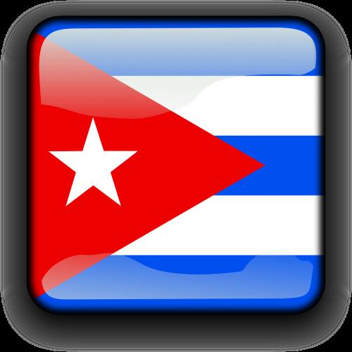 Kuba,vėliava,Šalis,Tautybė,kvadratas,mygtukas,blizgus,nemokama vektorinė grafika