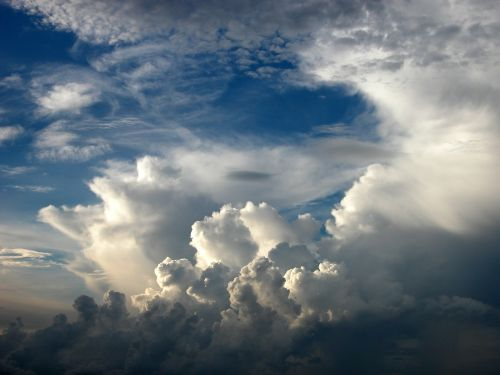 Cumulus, Debesys, Dramatiškas, Balta, Mėlynas, Dangus, Oras, Atmosfera, Oras