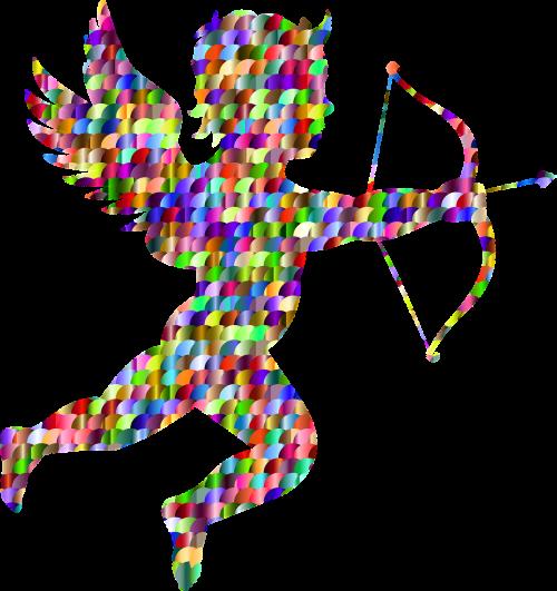 kupidonas,angelas,rodyklė,lankas,animacinis filmas,cherubas,chubby,širdis,meilė,romantika,valentine,sparnai,spalvinga,prizminis,chromatinis,vaivorykštė,abstraktus,geometrinis,menas,nemokama vektorinė grafika