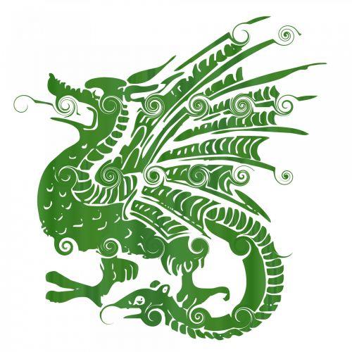 gradientas, drakonas, lapai, žalias, garbanotas, tatuiruotė, balta, fonas, gyvūnas, garbanotas drakonas