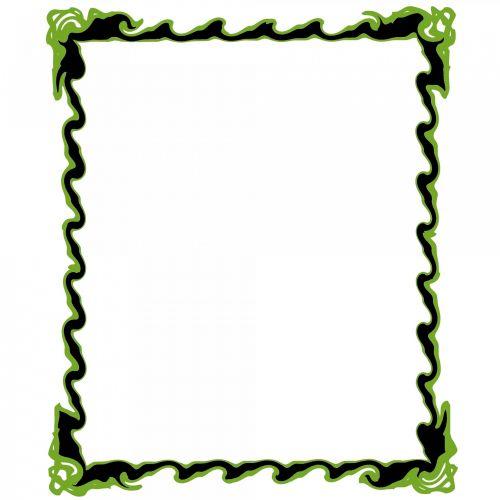 juoda, žalias, garbanotas, rėmas, poveikis, vaizdas, balta & nbsp, fonas, garbanotas rėmas 3