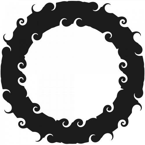 juoda, garbanotas, žiedas, rėmas, balta, fonas, siluetas, garbanotas žiedas