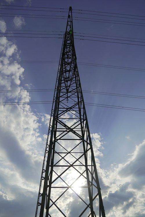 Dabartinis, energijos, ap, debesys, dangus, stiebas, elektros energijos, elektros energijos tiekimo, technologijos, aukštos įtampos, elektrinis, Įtampa, elektros energijos gamybos