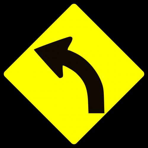 kreivė,išlenktas,kelias,ženklas,simbolis,atsargiai,nemokama vektorinė grafika