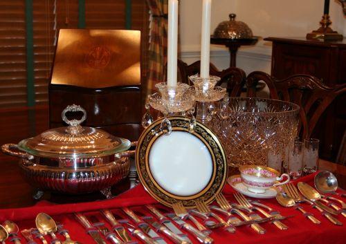 stalo įrankiai,indai,Kinija,sidabro dirbiniai,sidabras,vakarėlis,stalas,pietauti,nustatyti,indai,indai