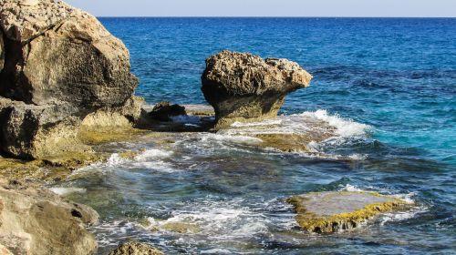 Kipras,cavo greko,Rokas,uolos pakrantė,jūros dugnas,pakrantė