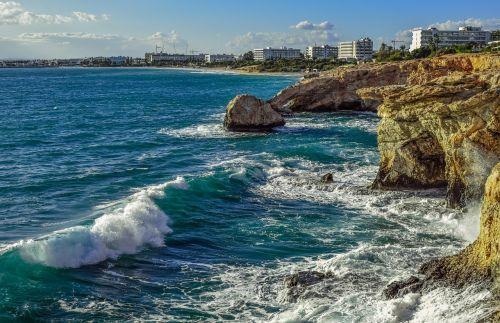 Kipras,ayia napa,pakrantė,uolos pakrantė,bangos,kraštovaizdis,Viduržemio jūros,kranto,jūra,nerami jūra,trupinimo,ruduo