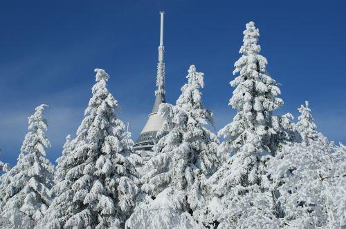 Čekijos Respublika,liberec,čekų,respublika,žiema,kalnai,sniegas,ledas,jested,bokštas,mėlynas,dangus