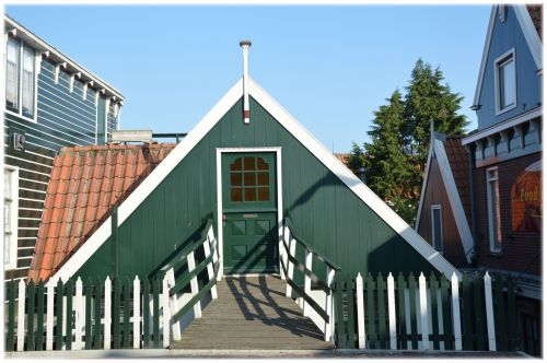 stogas, namas, mažai, gyvenimas, volendam, šiaurė & nbsp, holland, holland, stogo namas