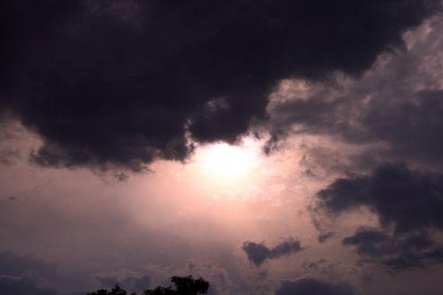 dangus, debesis, tamsi, rožinis, išsklaidytas, tamsus dangus rožinis rožinis