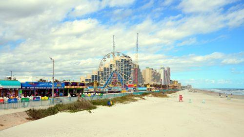 Daytona & nbsp, paplūdimys, florida, usa, kelionės & nbsp, paskirties vieta, turizmas, jūros dugnas, kraštovaizdis, lauke, kurortas, papludimys, žinomas, istorinis, atostogos, smėlis, vandenynas, jūra, daytona paplūdimys, florida