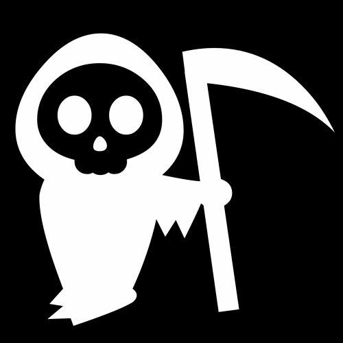 piešimas, balta, mirtis, kaštonas, izoliuotas, juoda, fonas, miręs, piktograma, siluetas, stovintis, ūkis, doodle, animacinis filmas, baugus, pjaustymas, išlenktas, ašmenys, Halloween, baisu, naktis, mirtis su kumpiu