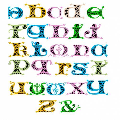 mažas, raidės, deko, dekoratyvinis, spalva, figūra, poveikis, menas, abėcėlė, a-z, skyryba, ženklas, ampersandas, deko alfabetas