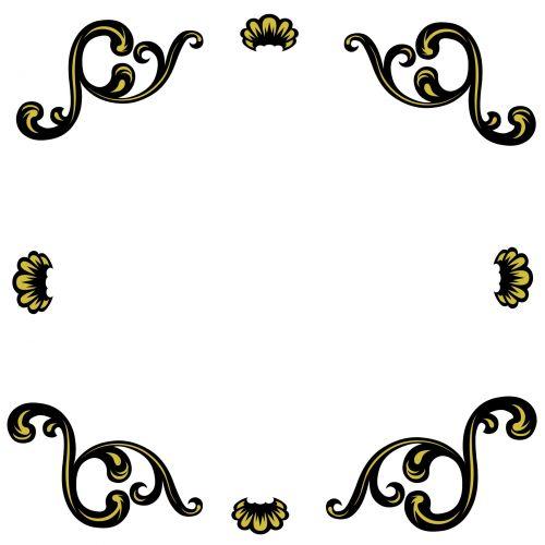 rėmas, deko, dekoratyvinis, juoda, auksas, kampas, retro, dekoratyvinis, dekoratyvinis rėmas