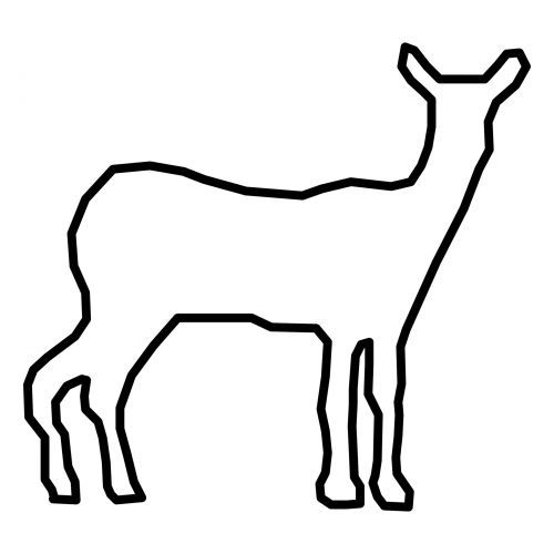 kontūrai, siluetas, elnias, juoda, balta, izoliuotas, gyvūnas, laukiniai, miškas, animacinis filmas, elnių kontūrai