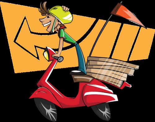 pristatymo vaikinas,berniukas,vyras,pristatymas,kurjerį,pica,picos pristatymas,motoroleris,greitas pristatymas,greitis,mielas,smiling courier guy,nemokama vektorinė grafika