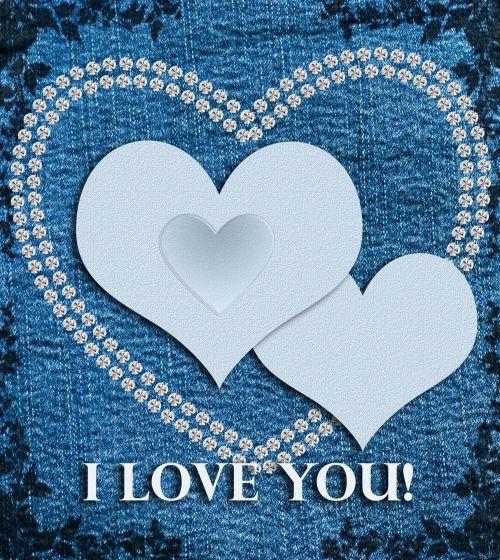 džinsas, fonas, medžiaga, tekstūra, meilė, širdis, širdis, mėlynas, deimantai, deimantas & nbsp, širdis, tekstas, kortelė & nbsp, Scrapbooking, gražus, Laisvas, viešasis & nbsp, domenas, džinsinio fono meilės širdis