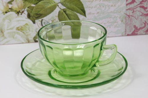 žalias, depresija, stiklas, arbata, arbata, taurė, lėkštė, depresija stiklinė puodukas ir lėkštė