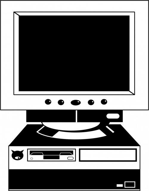 iliustracija, Iliustracijos, kompiuteris, technologija, elektronika, stalinis kompiuteris, ekranas, juoda, stalinis kompiuteris