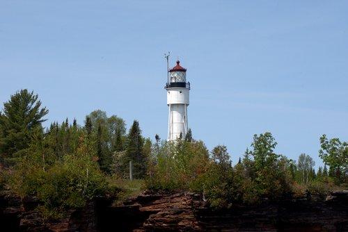 Velnio sala šviesos, Wisconsin, švyturys, struktūra, apaštalas salos, salos, Lake Superior, ežeras, švyturys, apaštalas salos nacionalinis Lakeshore, Lakeshore, medžiai, uolos, metai, vandens, kraštovaizdis, šviesos, peizažas, bokštas