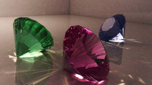 deimantas,papuošalai,kelių spalvų,brangakmenis,blizgus deimantas,trys deimantiniai