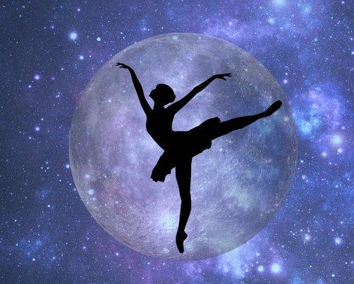 skaitmeninis, menas, Baletas, siluetas, mėnulis, žvaigždės, subtilus, talentas, Nemokama iliustracijos