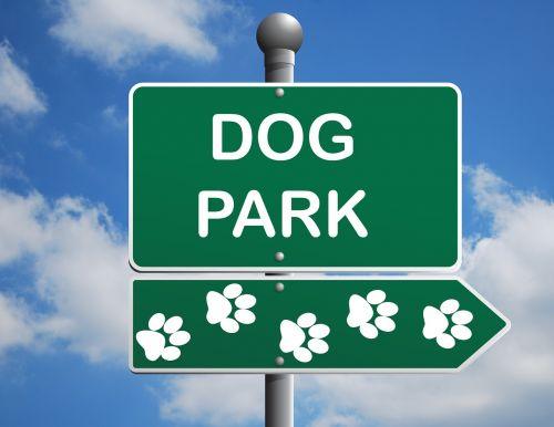 šunų parkas,ženklas,parkas,šuo,žalias,informacija,pastebėti,mėlynas,dangus,debesys,Pawprint,letenų žymės,letenų žymės,balta